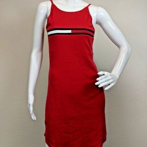 VTG Tommy Jeans sz S Small Red Fitted Tank Dress